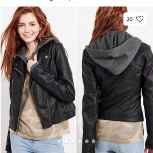 Hollister faux leather hooded jacket